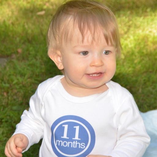 baby in 11 month onesie