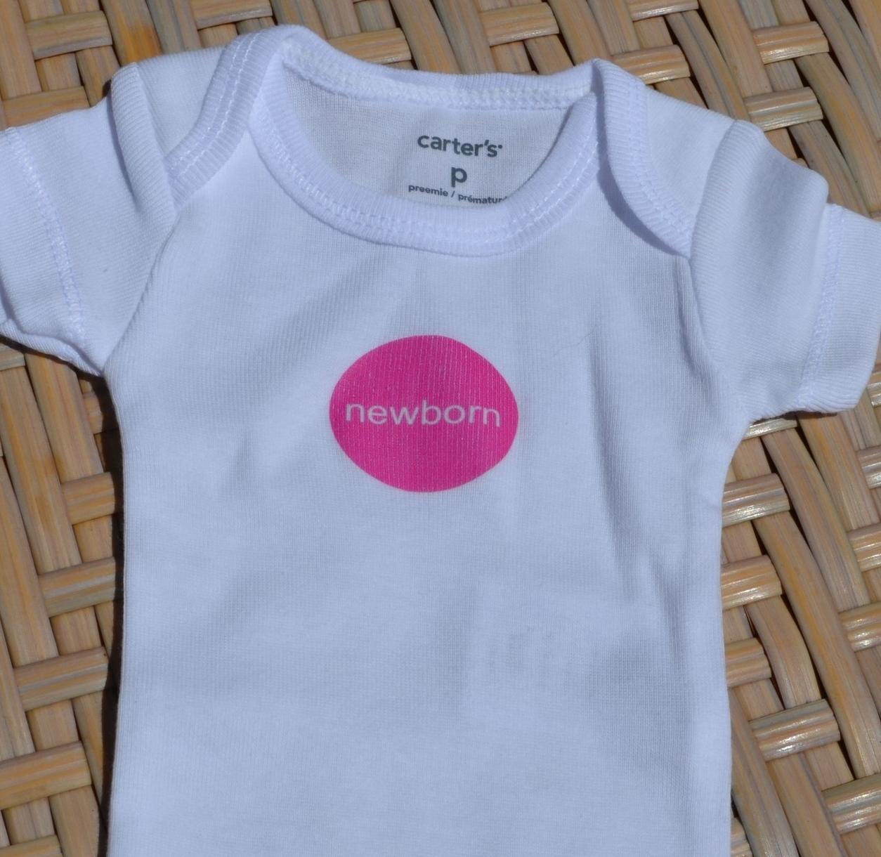 premmie onesie with newborn iron on