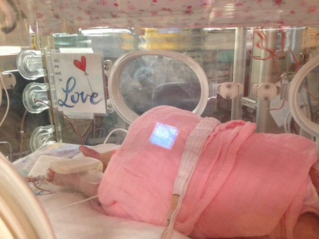 Bright colors and art in nicu isolette
