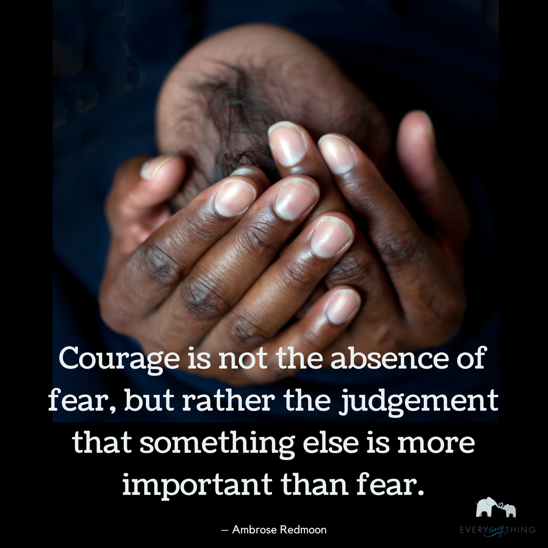 Courage is not the absence of fear, but rather the judgement that something else is more important than fear.– Ambrose Redmoon.png
