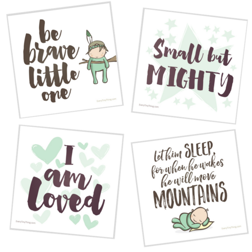 NICU Crib Art Brave Boys Green Digital Images Whole Set.png