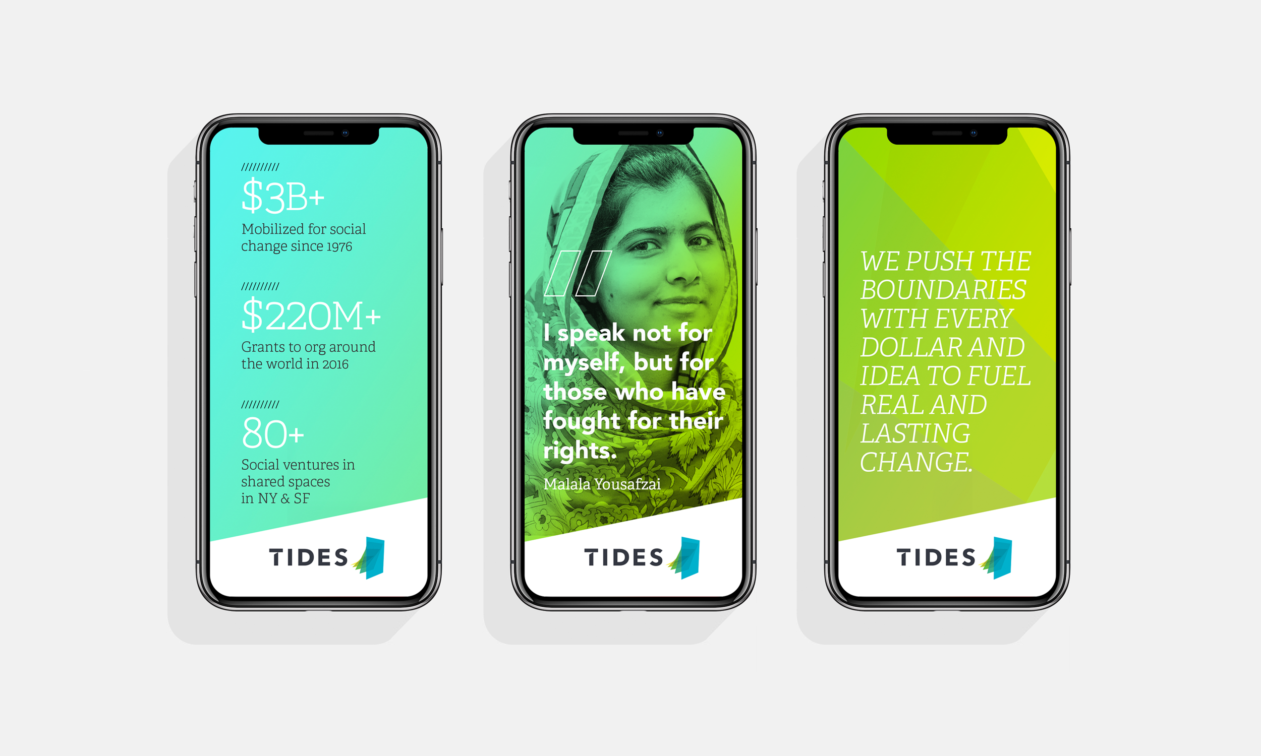 Tides Foundation brand identity logo social media campaign design by Good Stuff Partners a branding & design agency in San Francisco.