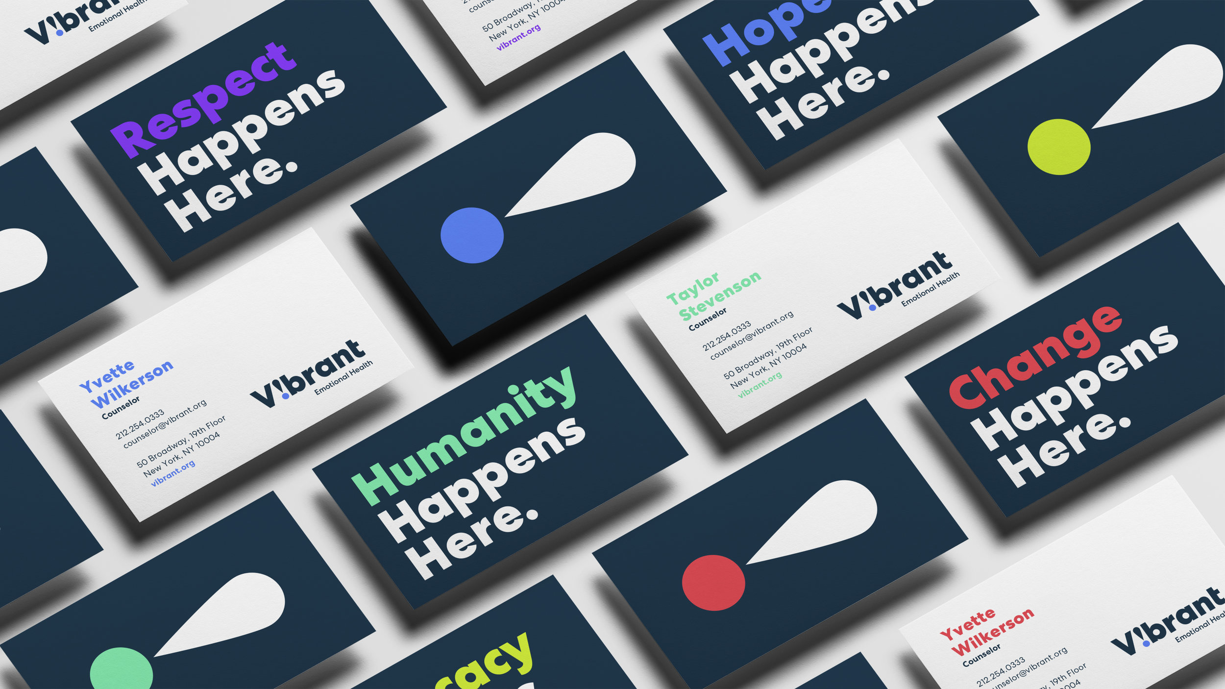 Stationery business systems design for Vibrant Emotional Health developed by Good Stuff Partners of Sausalito, a San Francisco Bay Area brand communications agency.