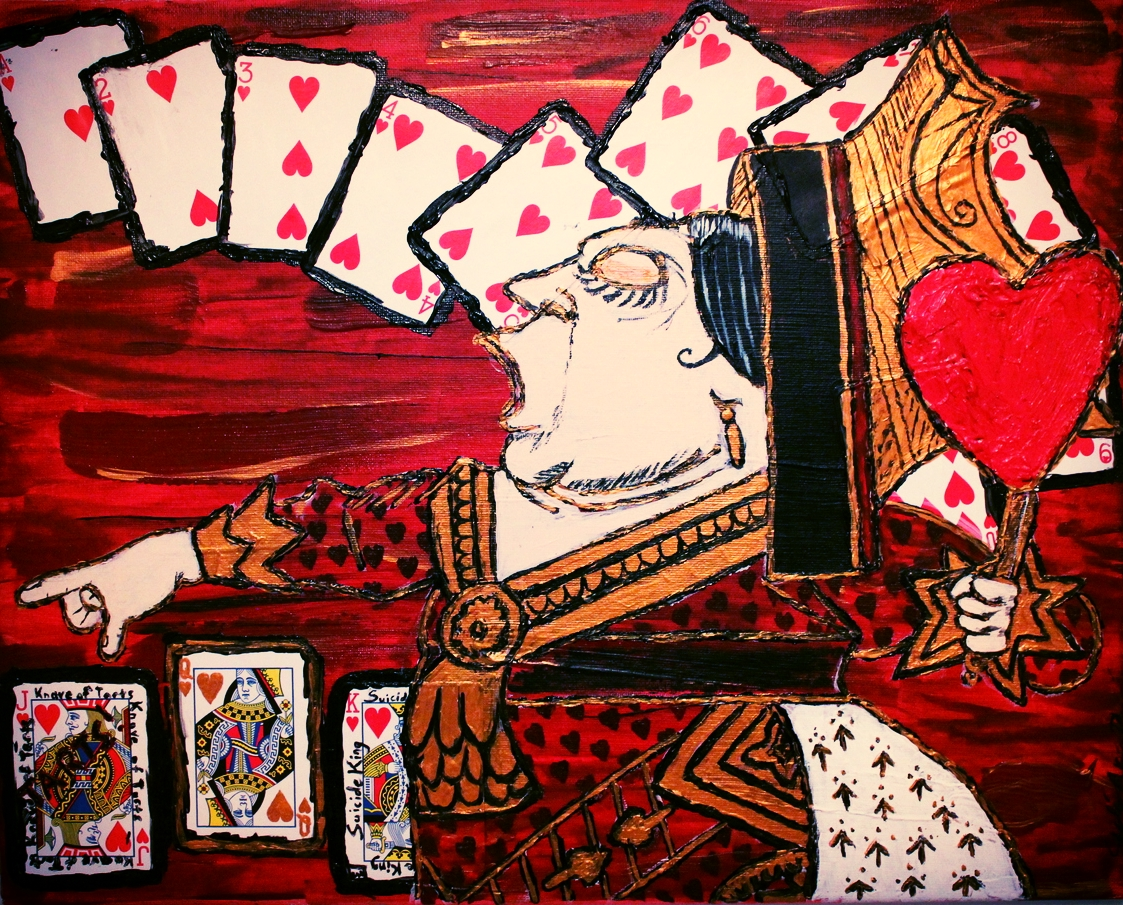 """Off With His Head!"" - The queen of Hearts b  y Stylés Akira            (Acrylic and Playing Cards on Canvas)"