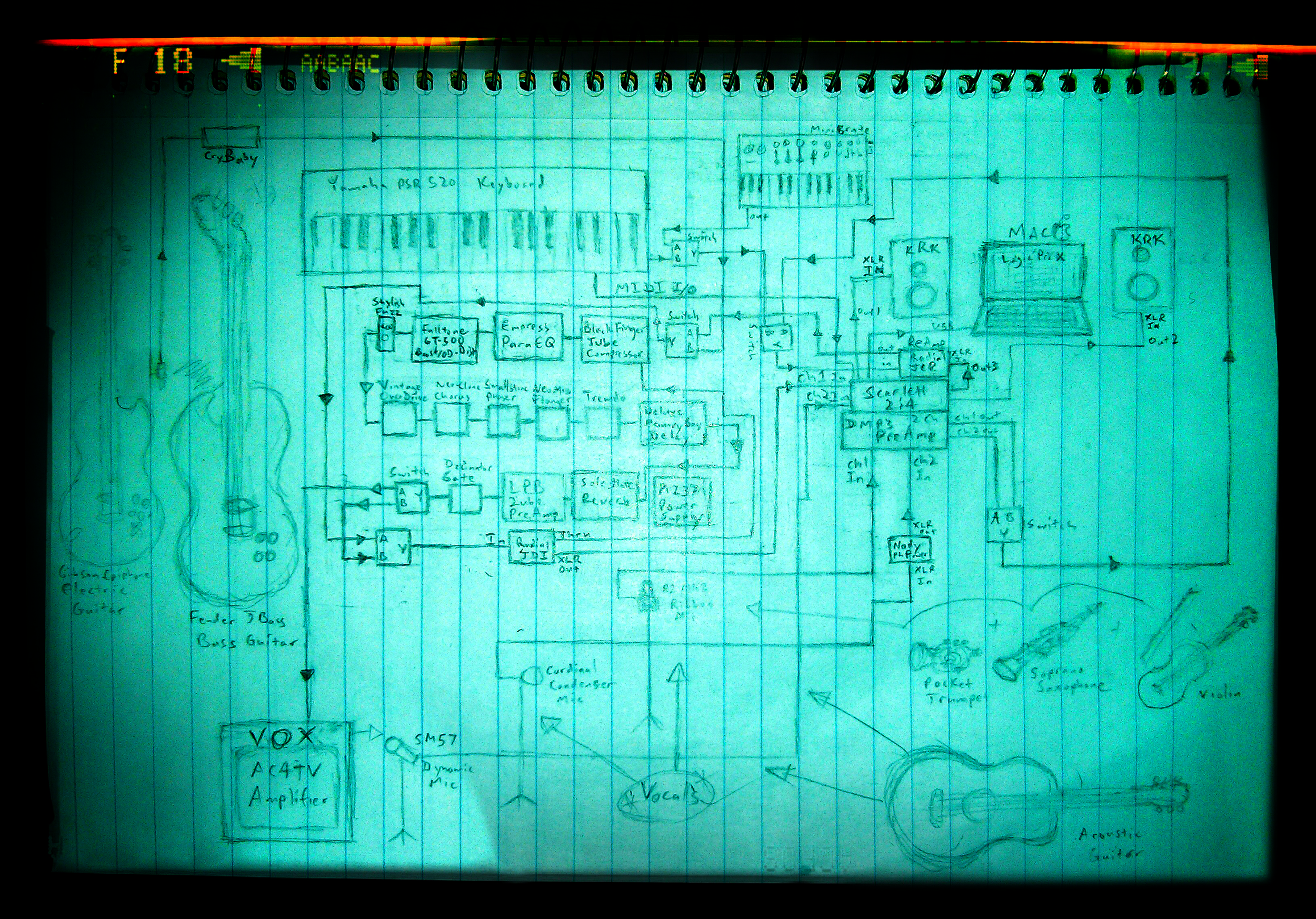 Early schematics of analog signal chain