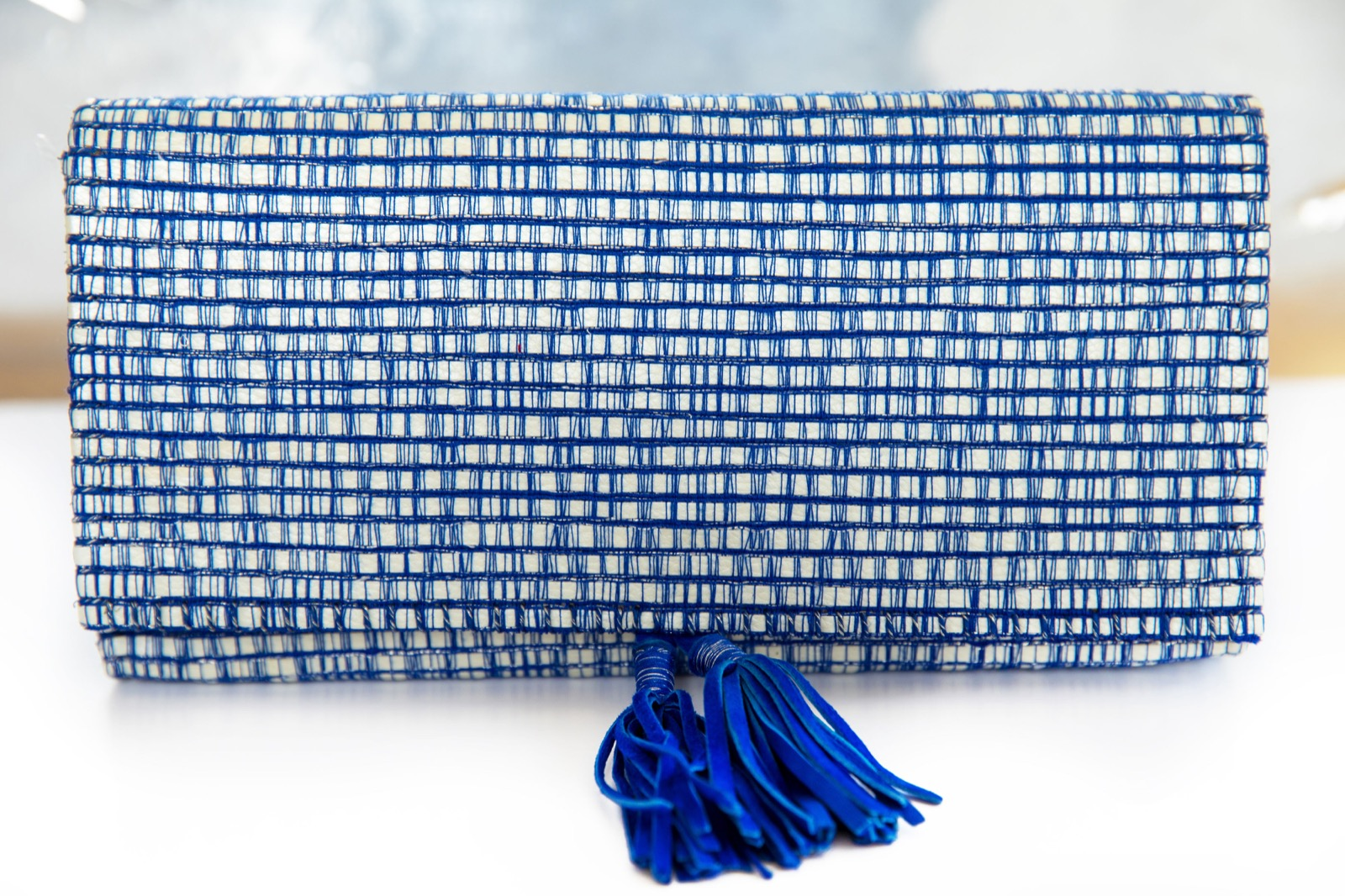 Blue / Ecru Clutch