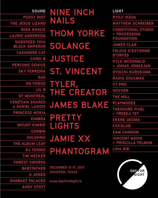 @dayfornightfest announces its 2017 lineup with performances by Nine Inch Nails, Thom Yorke, Solange, Justice, St. Vincent, Tyler the Creator, James Blake, Pretty Lights, Jamie xx, Phantogram, and many more! #DayforNight 🌞www.dayfornight.io/tickets🌛