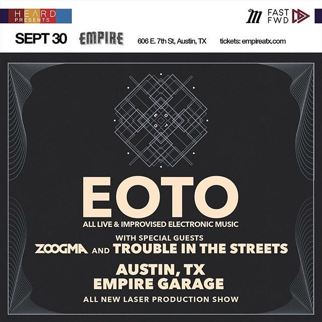 Euphoria fam @eotomusic is having a show @empireatx SEPT 30TH! We'll see you there. 💖 🎸 bit.ly/EOTO_ATX 🎸