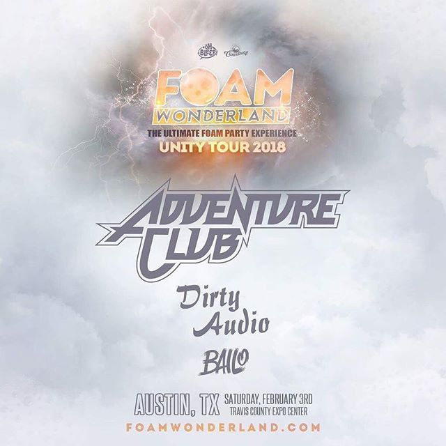 "From ""Gold"" to ""Crash 2.0,"" we can't wait to hear ALL the classics and more from Euphoria alum @adventureclub February 3rd! 🎶  @foamwonderland tickets are frozen at $25 GA & $40 VIP through Friday 😱 ➙ bit.ly/FoamAustin2018"