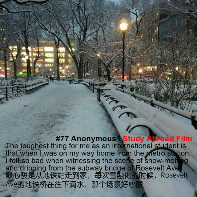 """The toughest thing for me as an international student is that when I was on my home from the metro station, I felt so bad when witnessing the scene of snow-melting and dripping from the subway bridge of Rosevelt Ave."" ""最心酸是从地铁站走到家,每次雪融化的时候,Rosevelt Ave的地铁桥在往下滴水,那个场景好心酸"" Wish to be quote as Anonymous --------- Share your ""My toughest experience as an International student"" story, and tag your photo with #StudyAbroadFilm #ProudestThing #ToughestThing or email your photo&quote to studyabroadfilm@gmail.com. We would like to share your story! Don't forget to provide your Instagram/Facebook/Weibo if you wish to be tagged. #InstaDaily #InternationalStudents #Film #TrueStories #StudyAbroad #Toughestthing #Quote #PhotoOfTheDay #proud #tough #living #self #growup #winter #cold #snow #sad #subway"