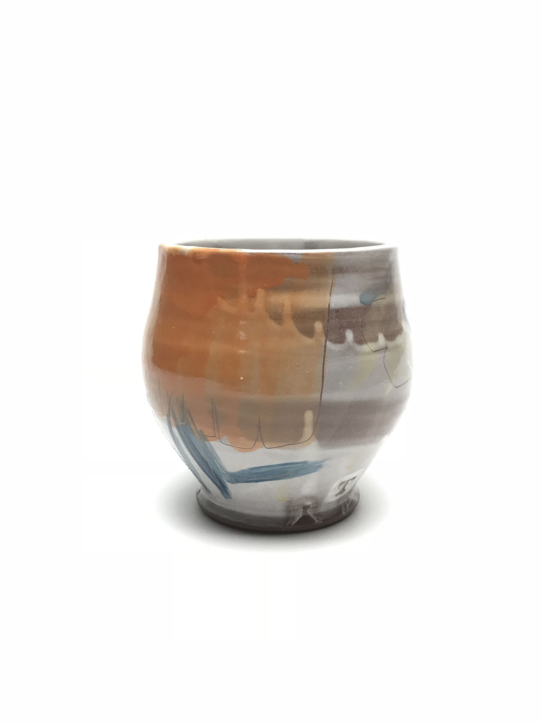 Teabowl  Earthen Red Clay, Slips, Underglaze Glaze
