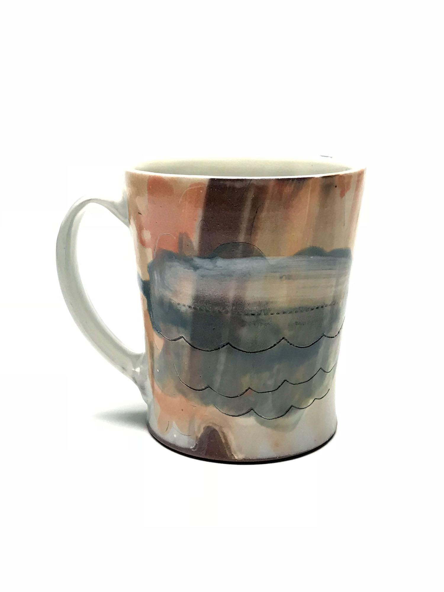 Mug  Earthen red clay, slips, underglaze, glaze