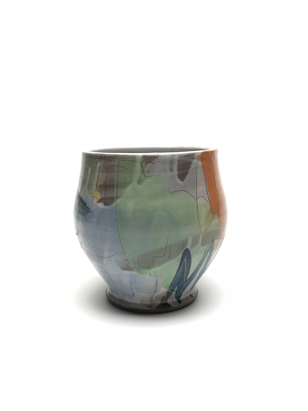 Teabowl, Earthen red clay, slips, underglaze, glaze, 2018.