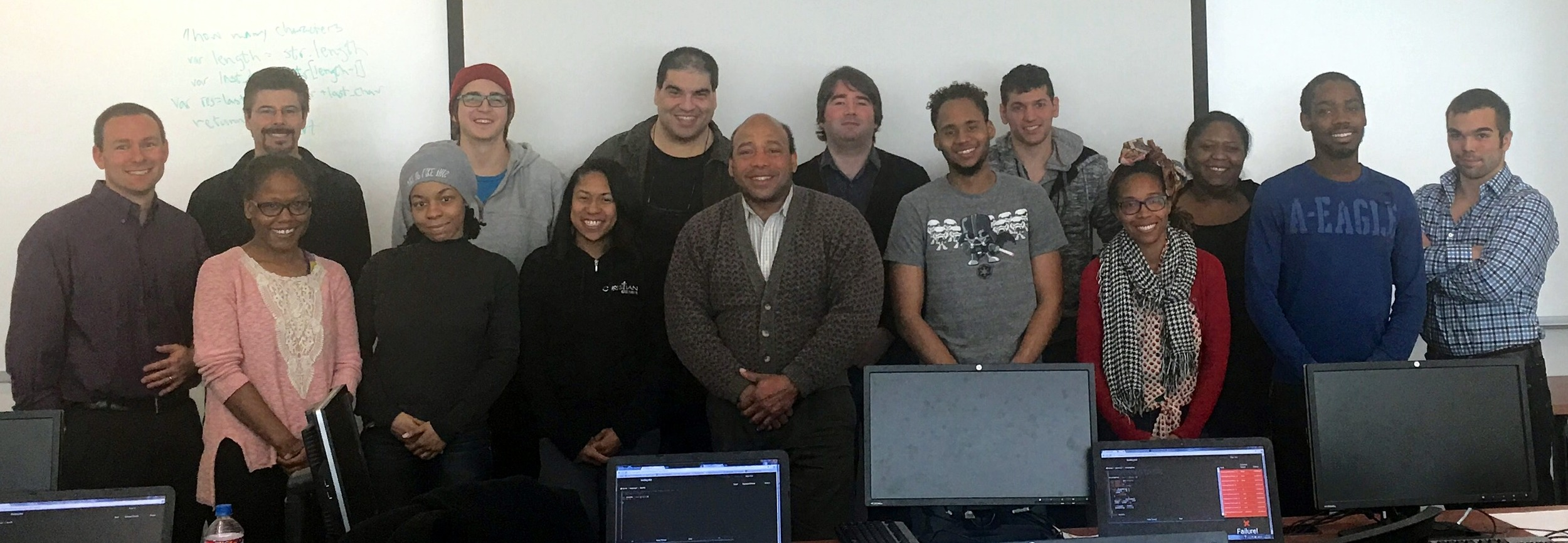 Matt meets the first cohort of Cleveland Codes students. Cleveland Codes is one of the nation's first nonprofit software development bootcamps.