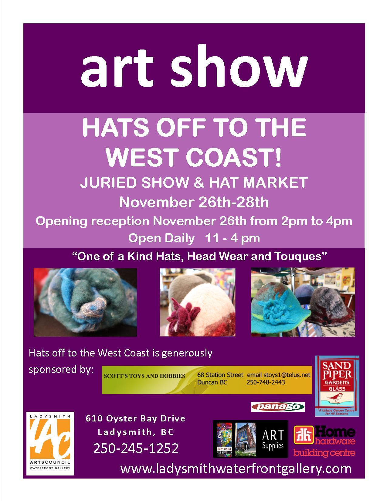 Join us! - Welcome to the 1st annual Hats off to the West Coast!This event is the CELEBRATION of the hat, from the humble knitted cap to the piece of wearable art!