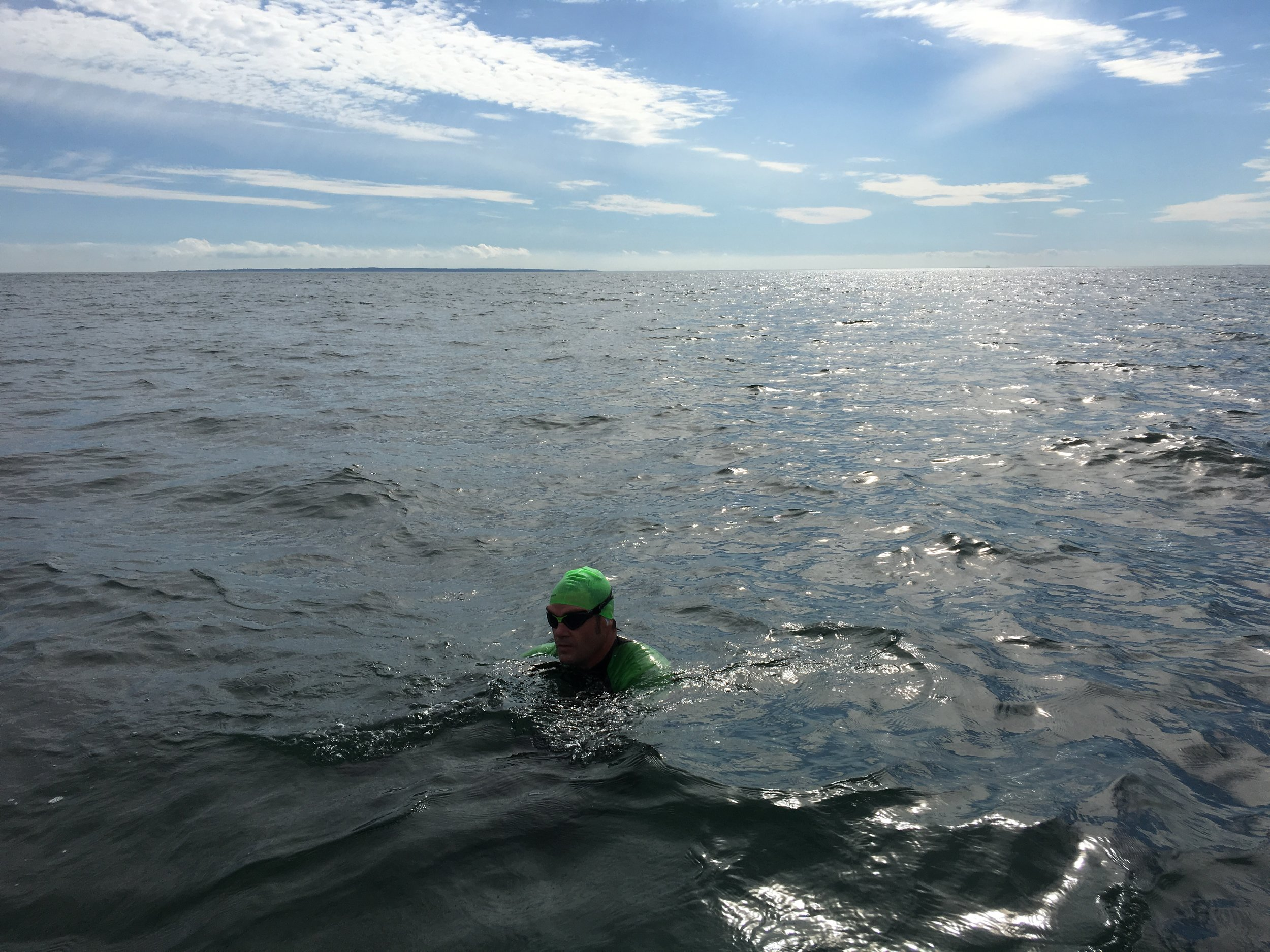 Christopher Swain on day 2 of his 130-mile Montauk to NYC Swim For Clean Water