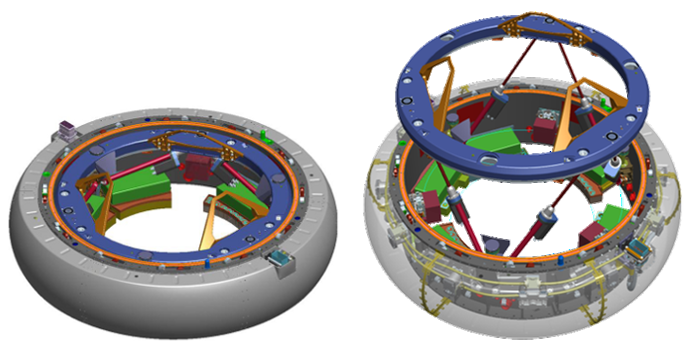 NDS (NASA Docking System) with passive mode on the left, active on the right