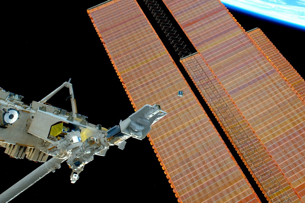 A CubeSat deployed from the Kibo arm, operated by Sam Christoforetti the week this show aired.