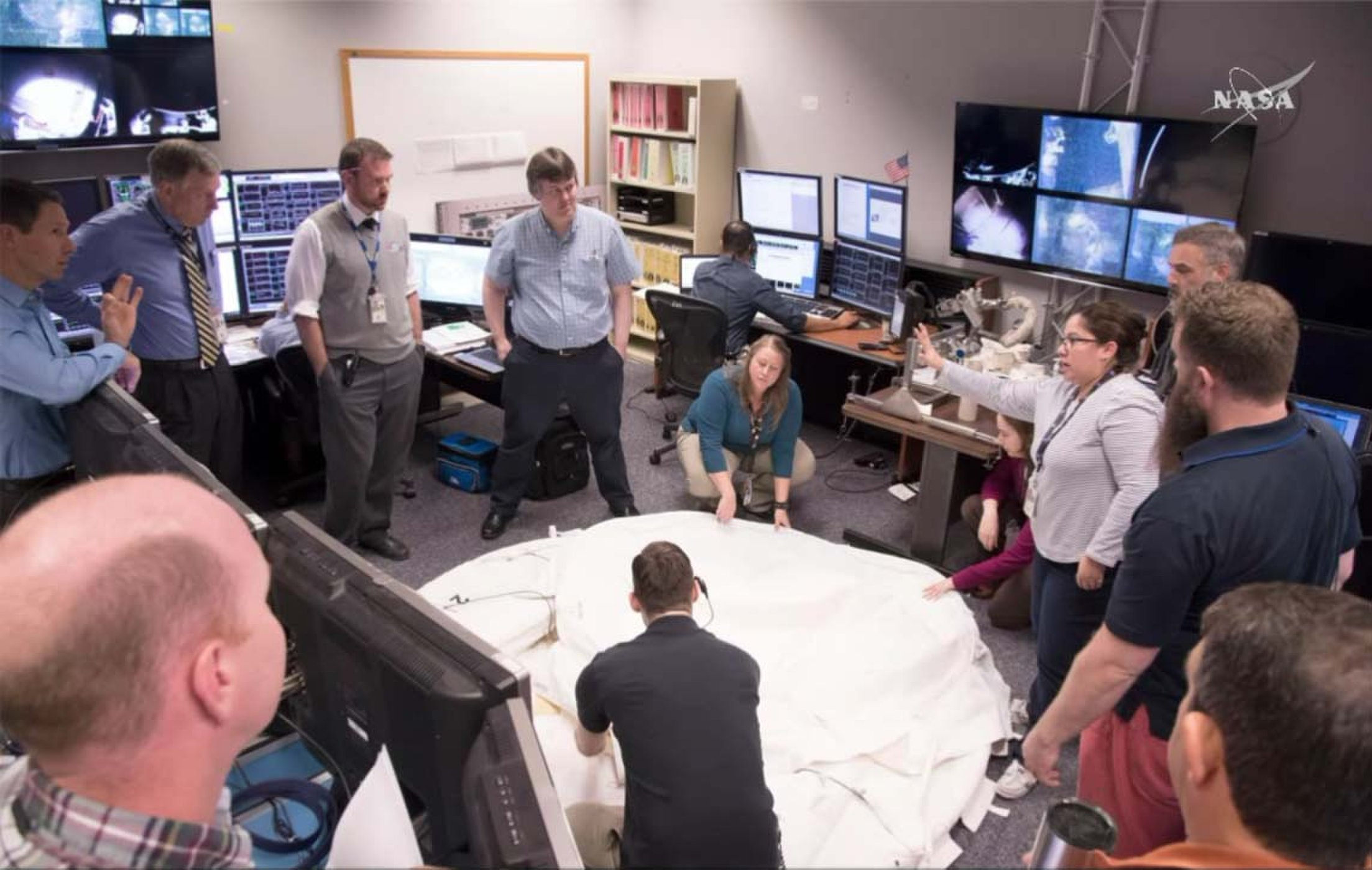 A shot from inside Multipurpose Support Room as the team confirmed that the PMA cover could be successfully deployed.