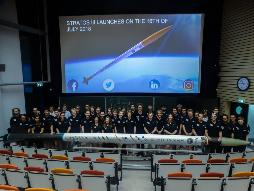 The DARE team behind Stratos III during rollout