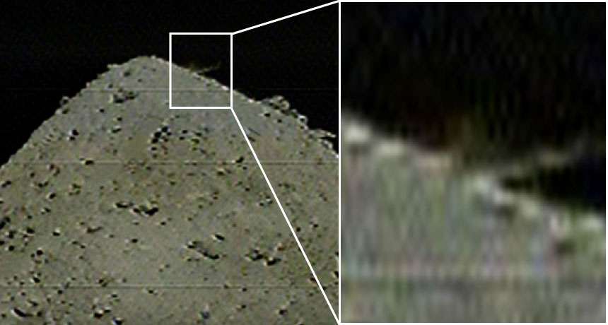 Dust plume rising from Ryugu's surface