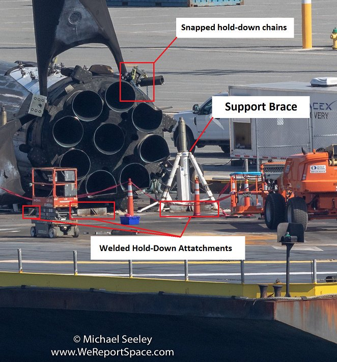 SpaceXFleet's annotated version  of Michael Seely's  Arabsat-6 booster image .