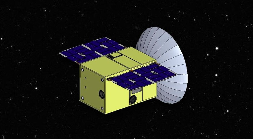 A render of CAPSTONE, the cubesat that will demonstrate the gateway orbit.