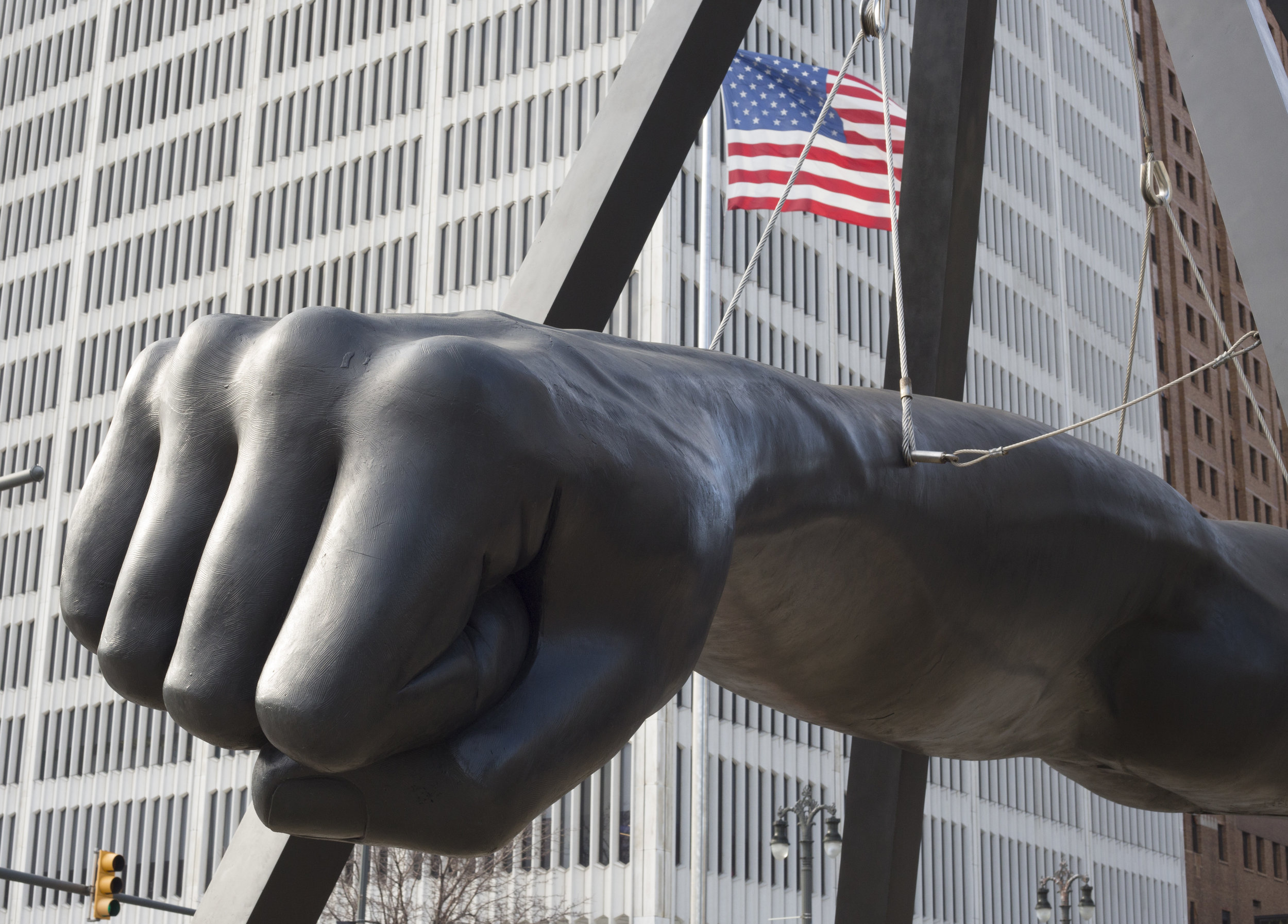 """The Fist"" stands boldly in the middle of Woodward Avenue as a monument to the infamous boxer, Joe Louis."