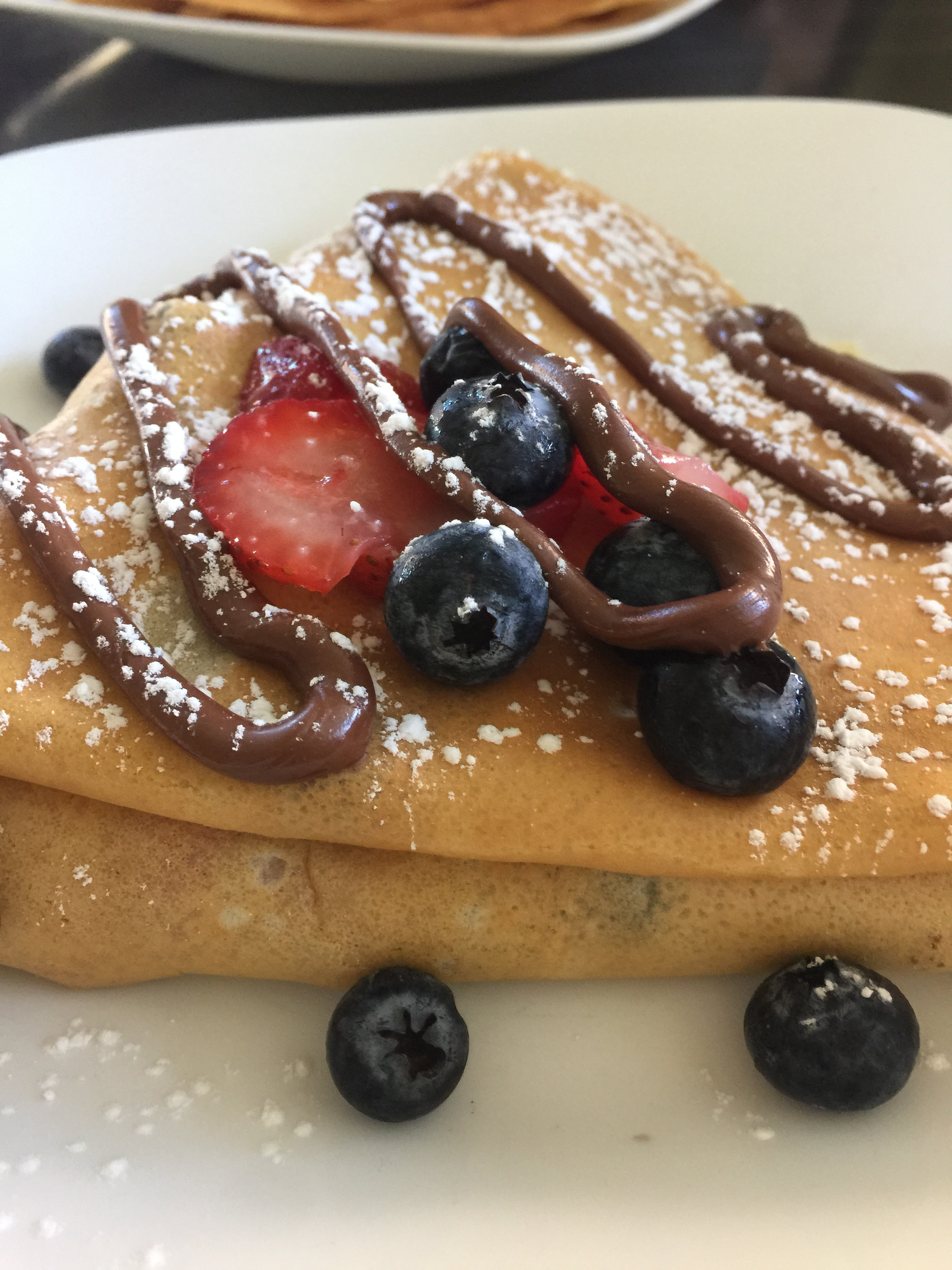 Getting up-close-and-personal with my fruit and Neutella stuffed crepe