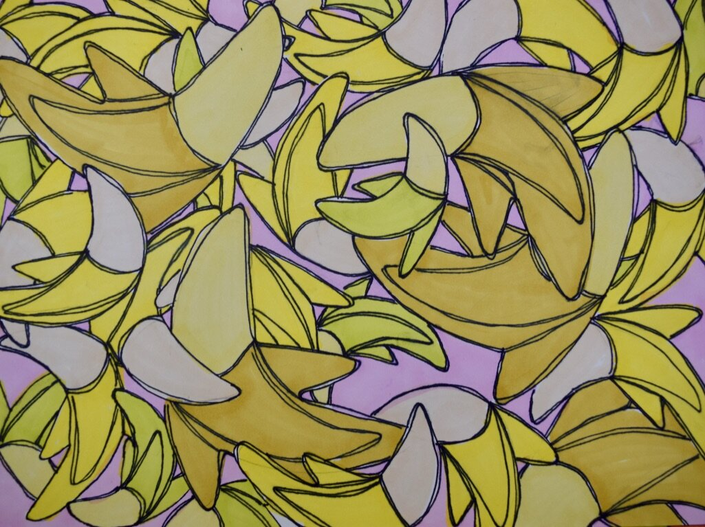 Banana Print Fabric, Lavender background.
