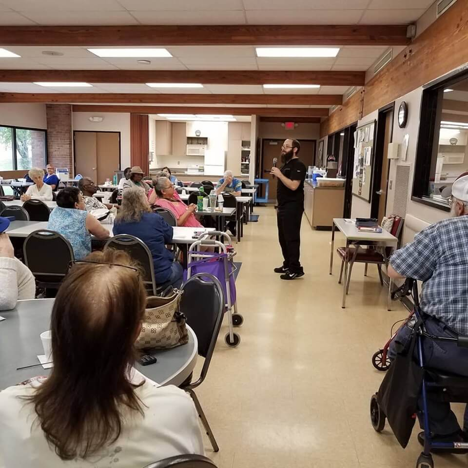 We have now been a guest speaker twice for the Evans Senior Center in Mesquite, TX. The first topic was regarding musculoskeletal health and simple exercises you can do at home. The second topic was all about signs and symptoms to be aware of that require immediate medical attention. There are some great seniors in our community that love to visit and socialize.