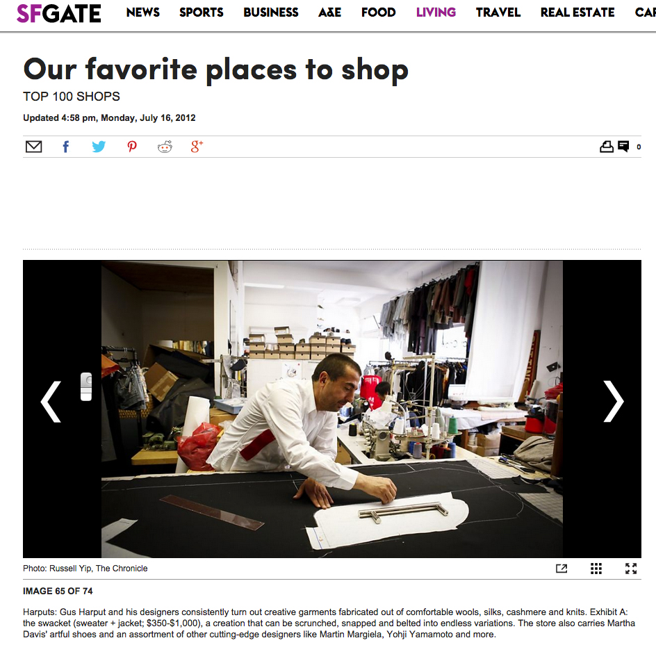 Our Favorite Places to Shop |SFGate  | July 16, 2012