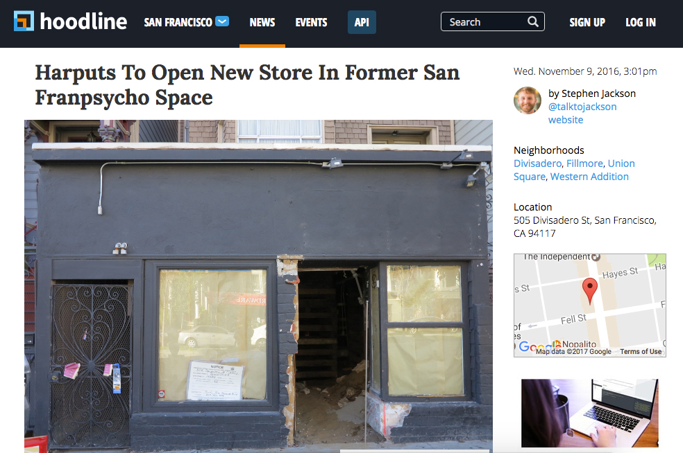 Harputs To Open New Store In Former San Franpsycho Space | Hoodline | November 9, 2016