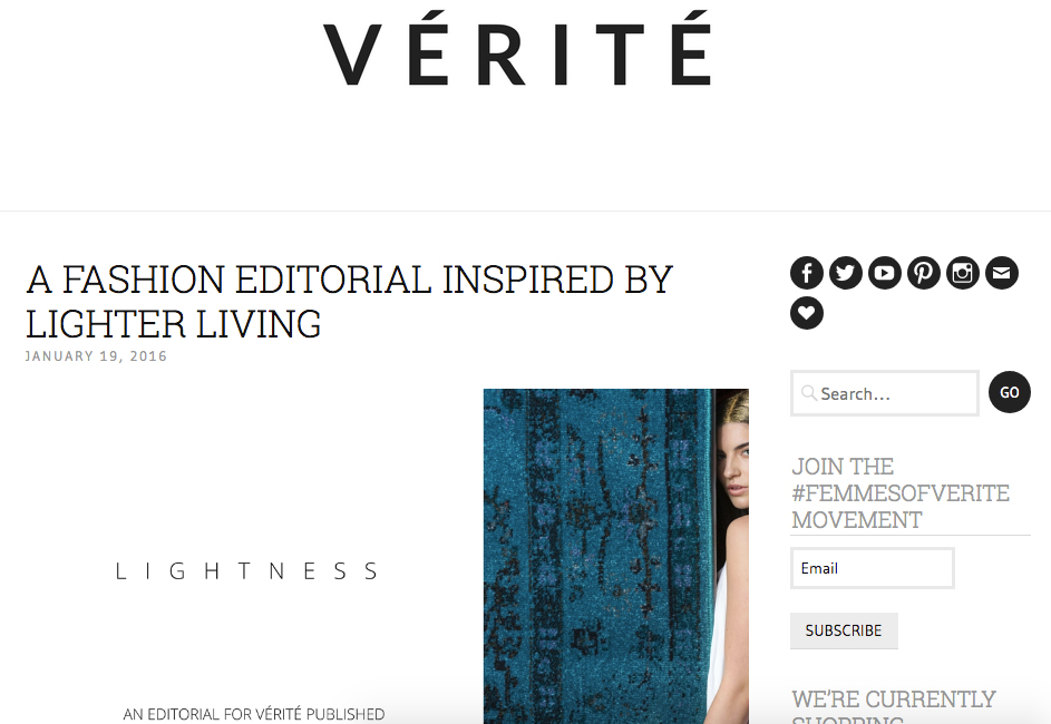 A FASHION EDITORIAL INSPIRED BY LIGHTER LIVING  | Verite | January 19, 2016