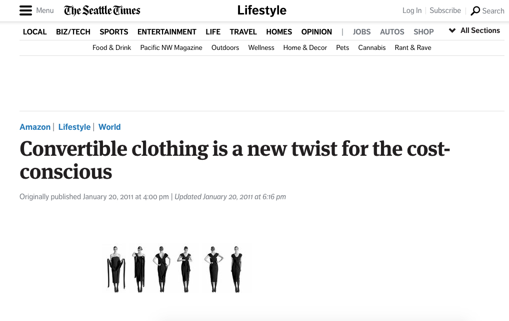 Convertible clothing is a new twist for the cost-conscious | Seattle Times |January 20, 2011