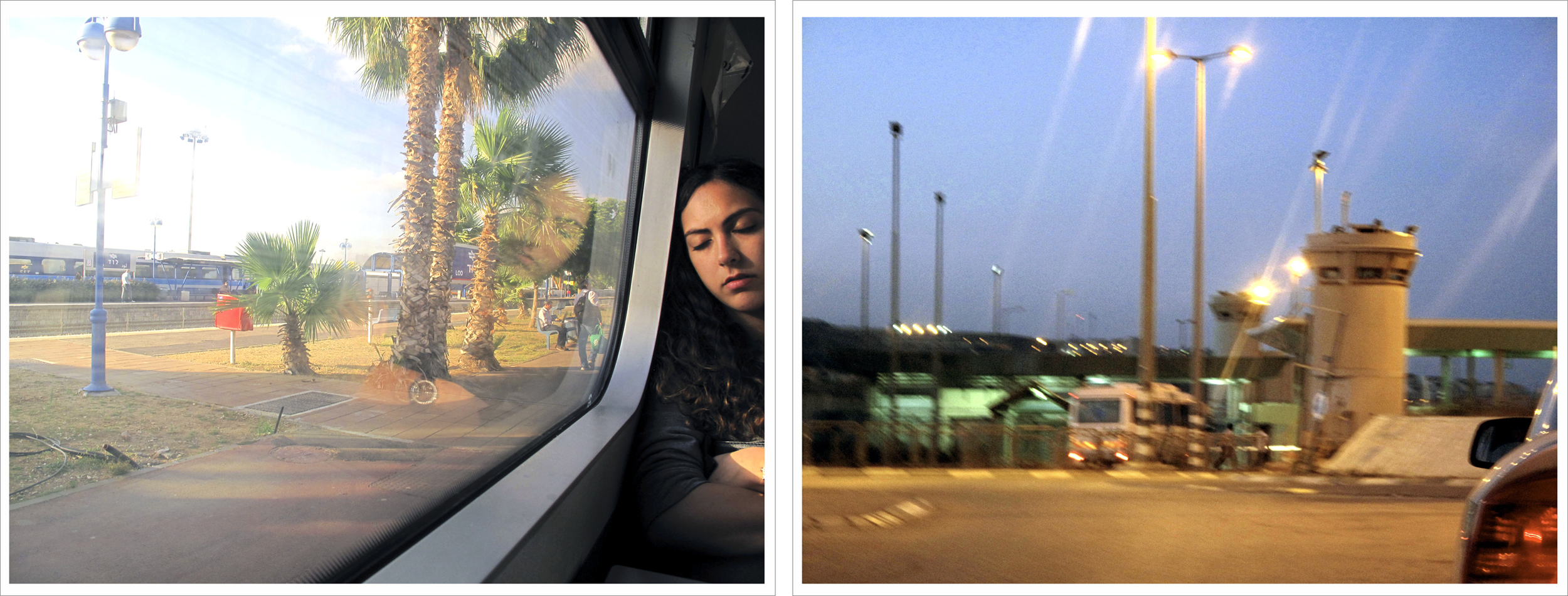 "(left) 17:15, May 26, 2013 ""Train Stop: Lydda / Lod"". (right) 19:00, May 26, 2013 ""Arrival Qalandiya Checkpoint"", The West Bank, The Occupied Territories."