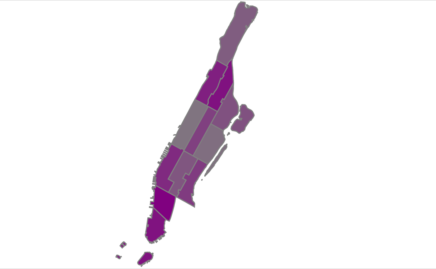 d3 Manhattan Map Example with Colored Districts