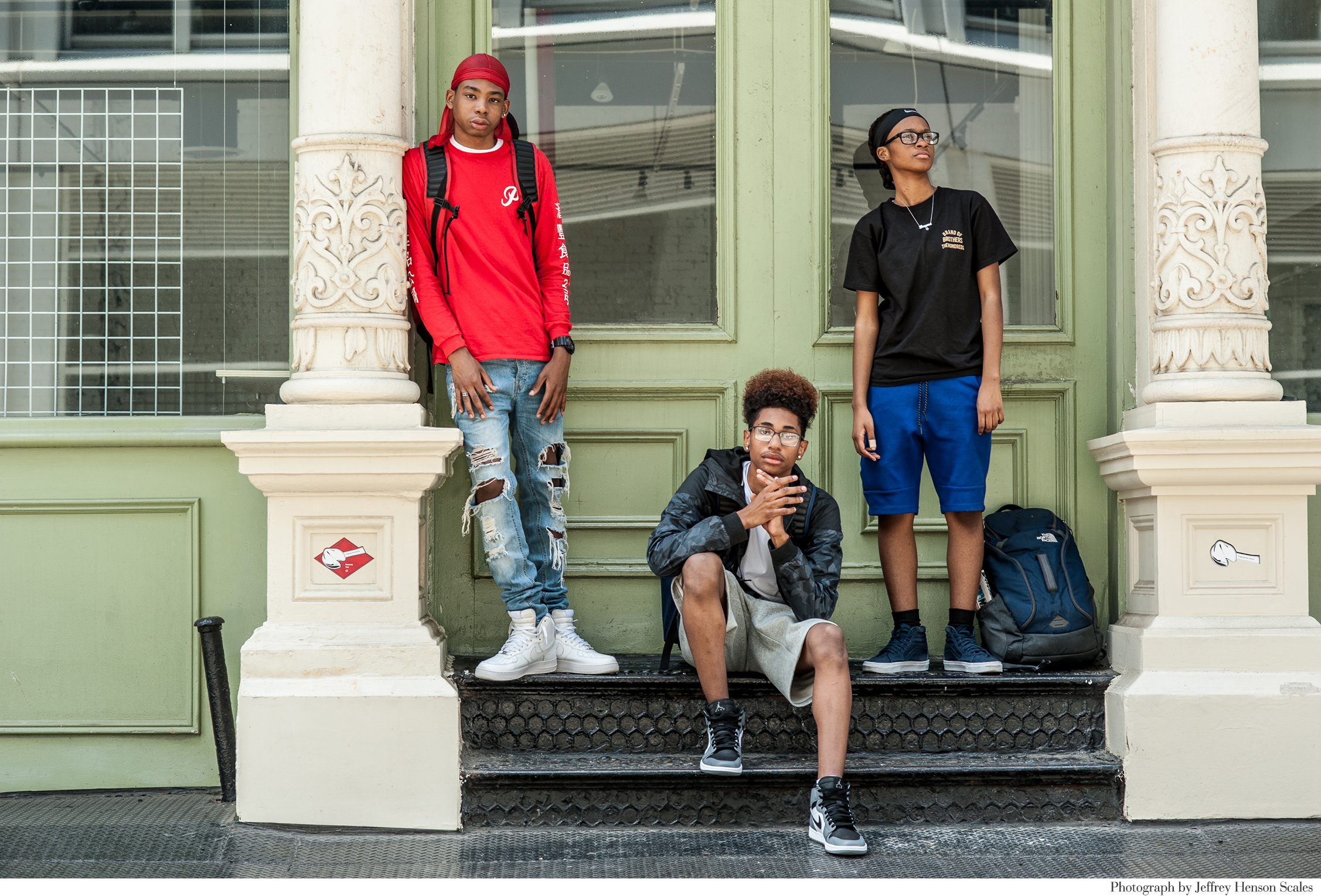 The Look _ New York Times_ Rebecca Pietri Stylist _ Casting _ Jeffery Henson Scale Photgrapher_Eve Lyon Editor_ New Geeks_Article_Nom Core- Youth Fashion_ Supreme_Palace_Vans_Street fashion _ Soho_ Teens_Group Shot .JPG