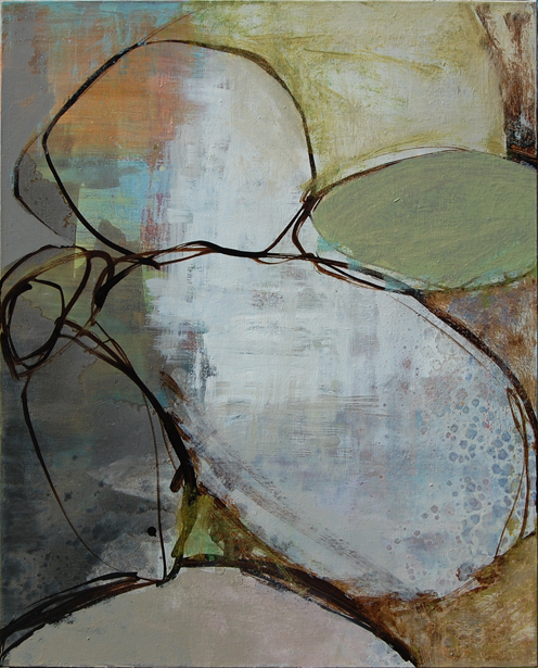 Confide : 30 x24 : oil and mixed media on canvas :  Private Collection