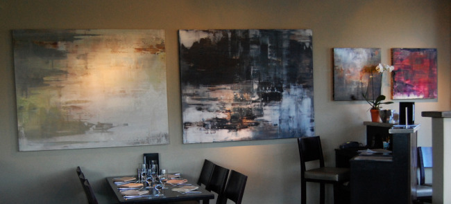 Four abstract landscapes from the collection at Mezzo restaurant in Stockton, CA.    Left to right:   Follow Through   (48x60),   Turning and Turning   (48x60),   Carrying Green   (30x30),   Call Me   (30x30).