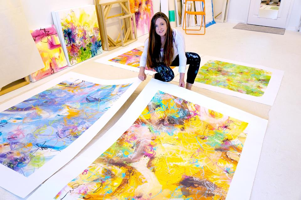 Jill in her studio preparing large original works on paper / 2018