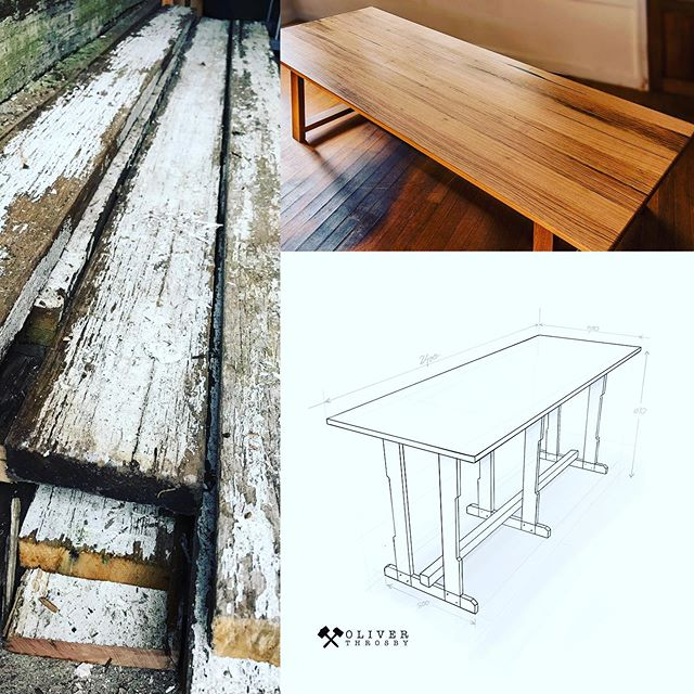 Watch closely now... Because for my next trick, I'm going to take the timber on the left, make it look like the table on the photo above, built to my design in the sketch below.... just give me a week or two 😉 and cheers to @debtsy for getting the designs out of my head and onto paper.