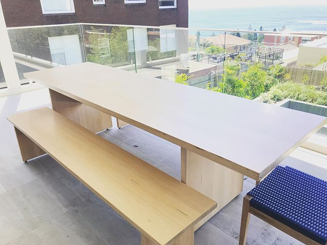 I love the result of this modern 10 - 12 seater I made recently. While it appears relatively simple there are some cool features to his table - read on... The length of the benches lets you pull up extra chairs to each end of the table to easily make it a 12 seater. It has small adjustable feet to easily level the table outside. The feet have a nylon capped thread so once they are adjusted, they don't wriggle loose. It is made from solid 38mm thick Tassie Oak so it doesn't warp in the salt air and Aussie sun. The propriety white marine grade finish is soaked into the grain of the wood so in years to come little bumps don't expose a different colored timber underneath. The legs are inset with plenty of room knees at the head of the table. When you spend the extra money on my tables, you get a lot more than a good looking table. You get a carefully considered solution to your space and needs that is a result of years of experience. #outdoordining #outdoors #table #whitewashed