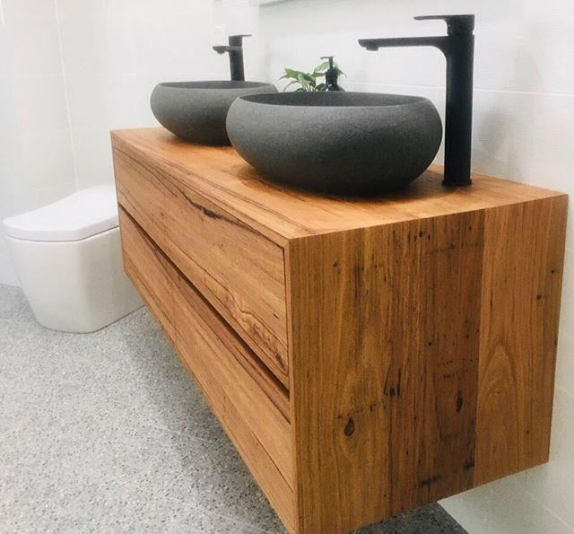 Floating Vanity by private commission. Made in Wormy Chestnut with soft close @blumaustralia cabinetry internals. #floatingvanity #interiorstyling #interiordesign #bathroomdesign