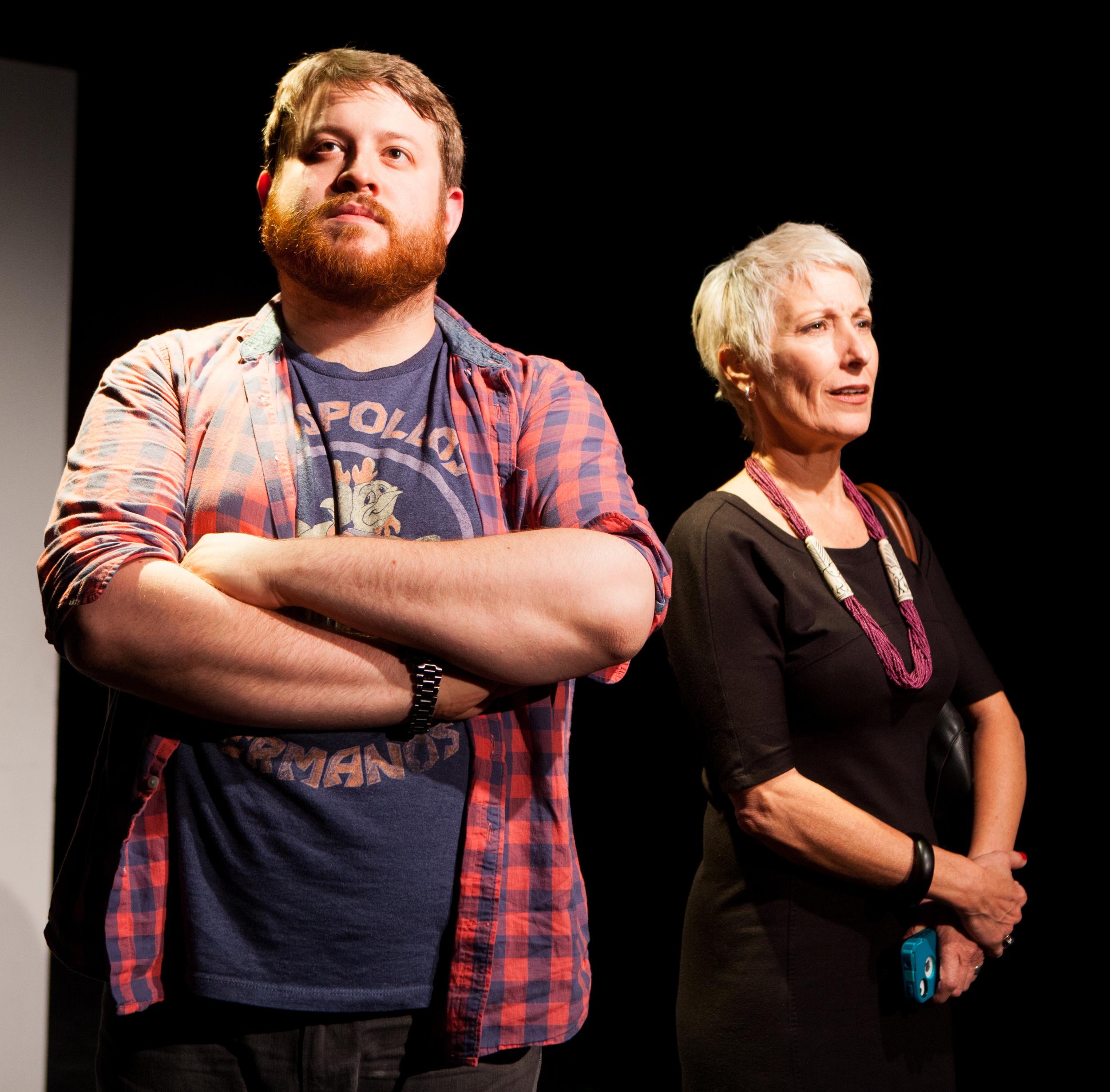 Trey K. Blackburn (Blue) &Renee Stork (Candice) in  Invasion  ; directed by Elizabeth Ostler, photo by Isaiah Tanenbaum: Theatrical Photography & Design