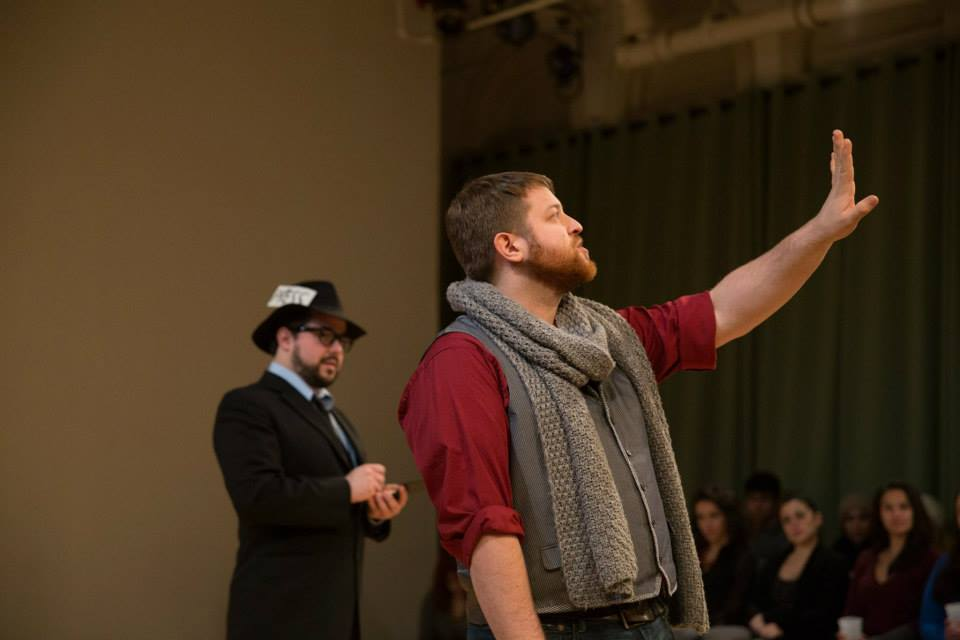 Nick Martorelli (2nd Gentleman) & Trey K. Blackburn (1st Gentleman) in Cymbeline ; Accidental Shakespeare Company, photo by Terry Robinson