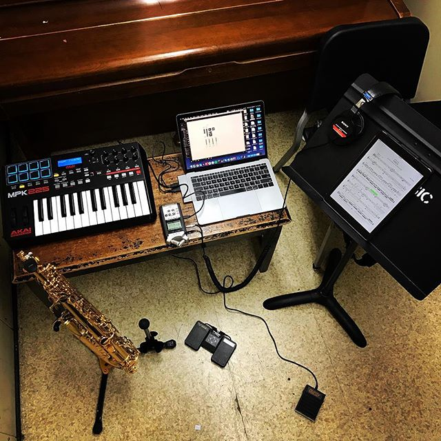 Prototype rig for @vietcuongmusic super cool piece Naica for alto saxophone and live delay processing. Between the MIDI delay pedal and bluetooth pedal for turning pages on my iPad, I think I'll have my hands (and feet) full! . . .  #saxophone #recital #electronics #electronicmusic #livingcomposers #doublepedal