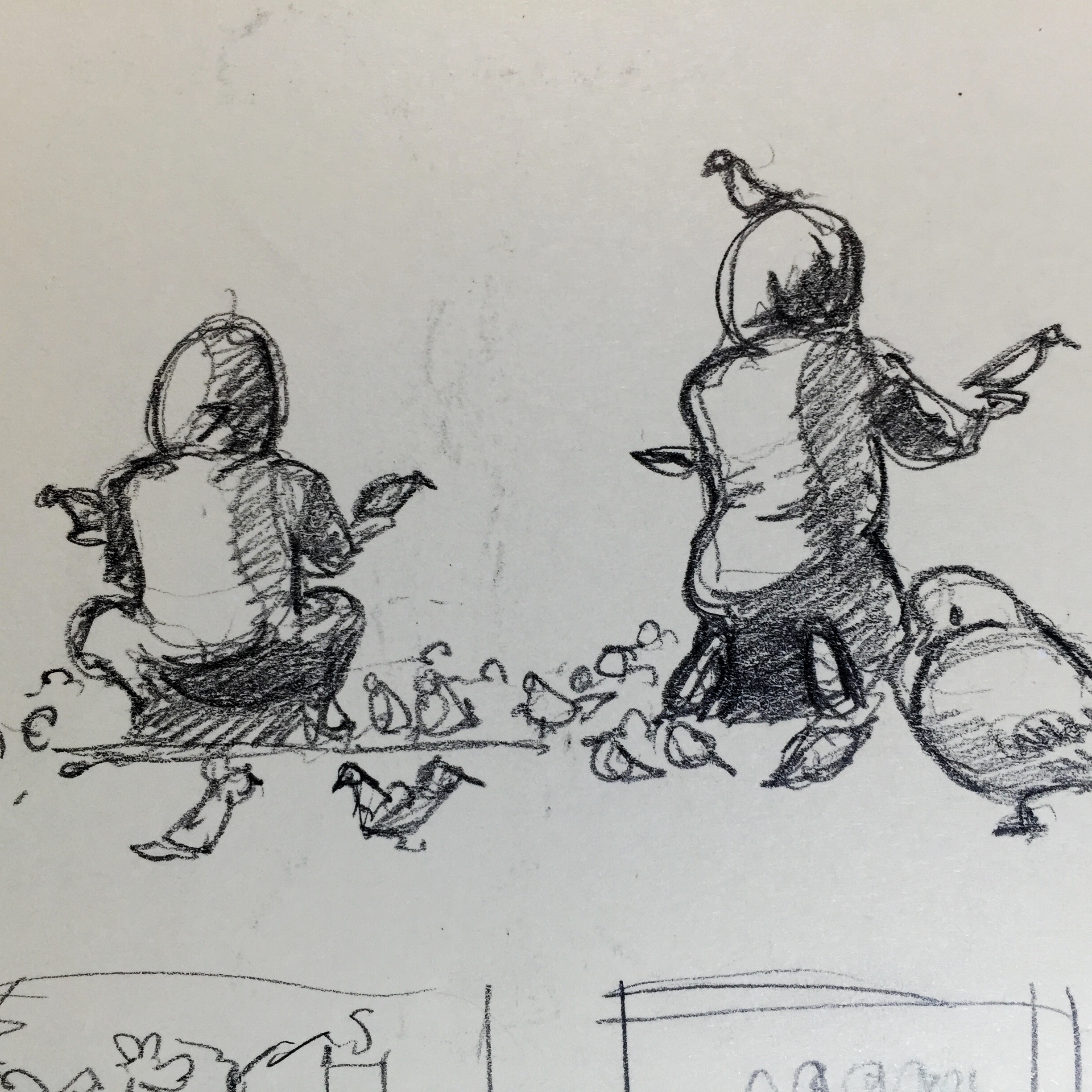 Woman with Pigeons in Square