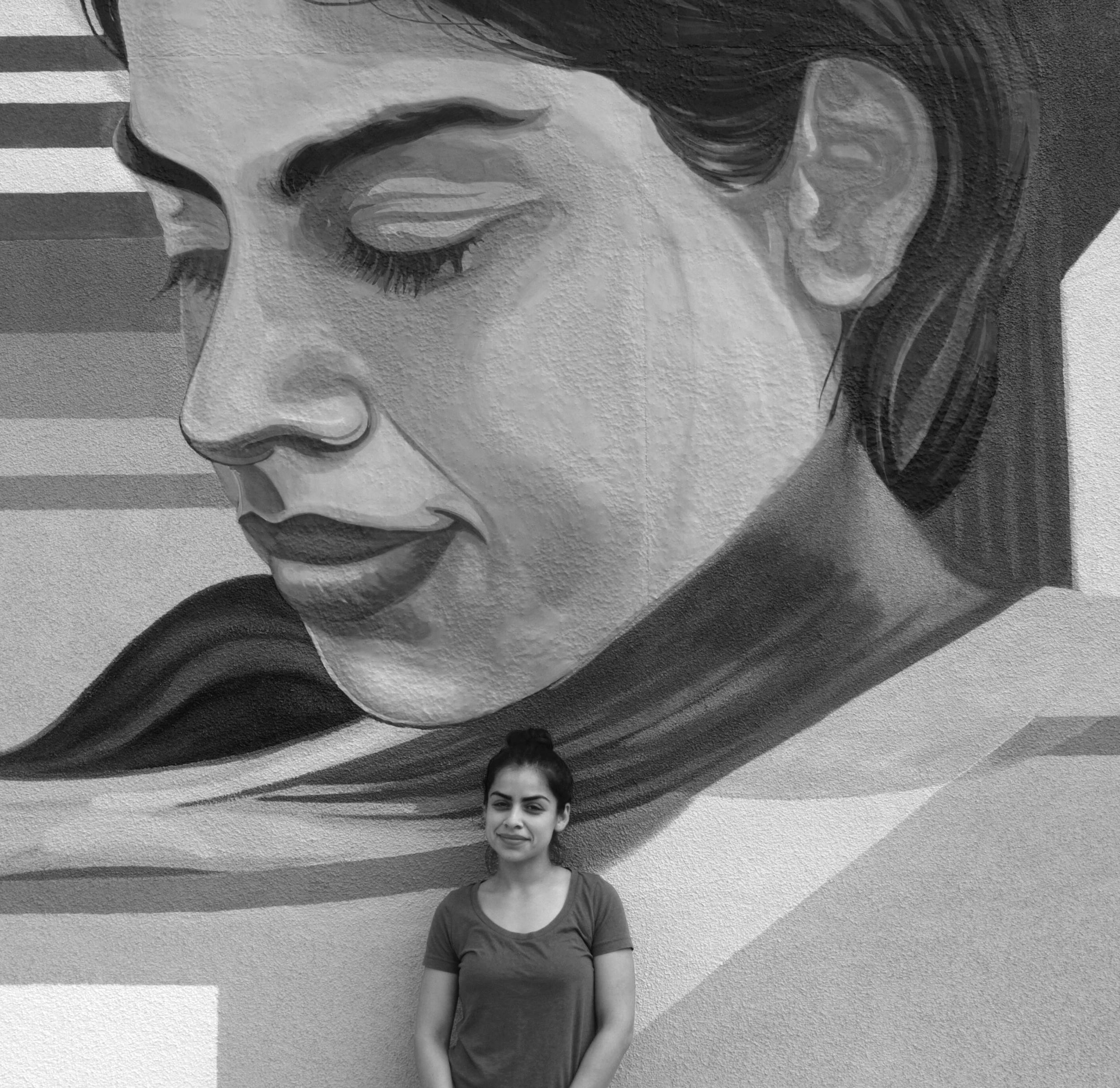 Model at the mural