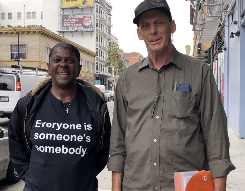 Brian Whitten  and  Beverly Stevenson  are our first two formerly homeless Community Ambassadors. Each week, they offer Miracle Messages in the Tenderloin in San Francisco. Working for Miracle Messages is their first job since they have been on-the-streets. They are invaluable members of our core team, and have become the heartbeat of our nonprofit.